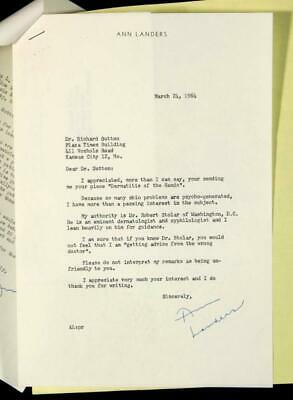 TWO Signed Autographed Ask Ann Landers Letters TLS 1964 Advice Columnist Chicago