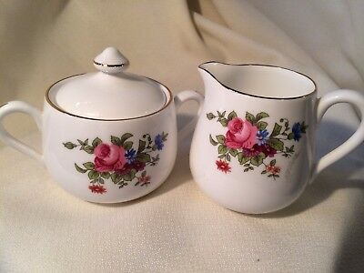 Crown Staffordshire Fine Bone China Vintage Cream & Sugar Set