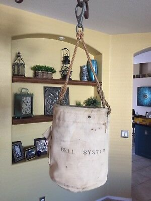 Vintage Lineman Tool Bucket Bag Canvas Bell System Telephone Foster Co