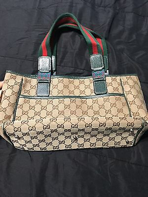 AUTHENTIC GUCCI GG print with classic red & green web handles medium tote