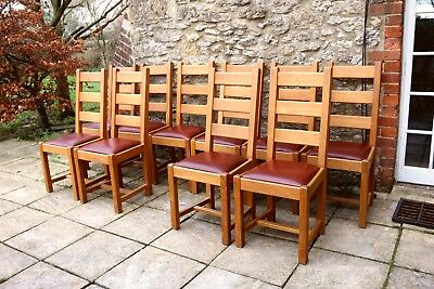 10 Lovely French Solid Oak Ladder Back Leather Seat Farmhouse Dining Chairs