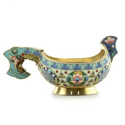 Antique Russian Khlebnikov shaded enamel kovsh