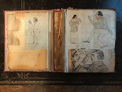 Victorian Cartoons Important Rare Sketch Album - pen and ink drawings 1843
