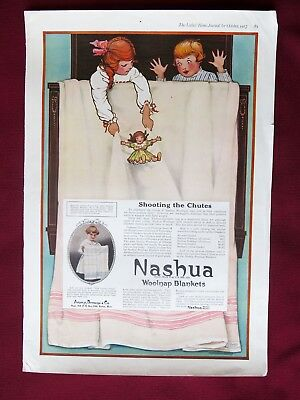 "1917 Lhj Nashua Woolnap Blankets - Kids Playing ""shooting The Chutes"""