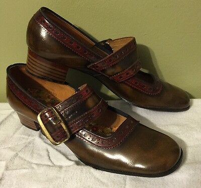 Vintage 60's 70's Leather Mary Jane Olive Green Brown Block Heel Shoes 7 N