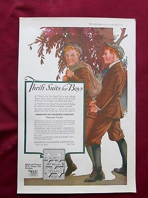 1918 LHJ ORIGINAL AD for THRIFT SUITS for BOYS - CROMPTON ALL-WEATHER CORDUROY