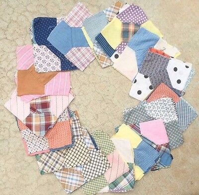 Vintage Primitive Bow Tie Quilt Block Lot Depression Handstitched