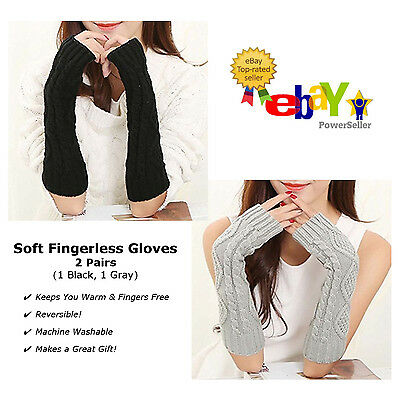 2 PAIRS - Cozy Cable Knit Women's Fingerless Gloves Arm Warmers - Black & Gray