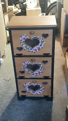 Used 3 drawer bread box with floral and heart design for sale