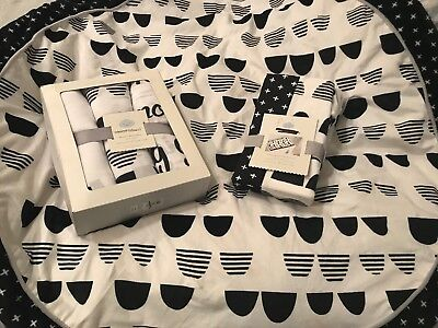 5pc Cloud Island Scallop Black White Play Mat Swaddles Changing Pad Baby Nursery