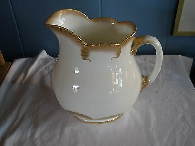 Wonderful Hand Painted Stoke and Sons Crescent China Gold and White Pitcher