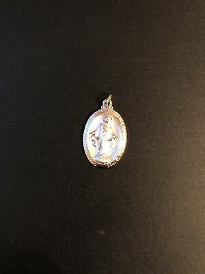 Sterling Silver Mary Madonna  Miraculous Medal Detail Religious Catholic