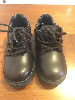 New Stride Rite Boys Brown Leather Oxford Shoes Lace Up Size 10 M Toddler Kids