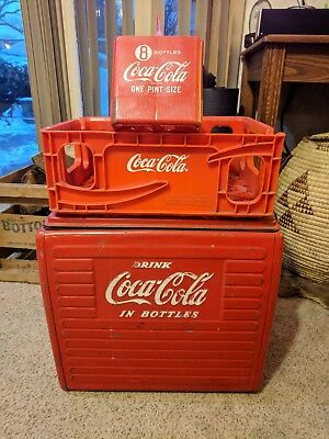 VINTAGE DRINK COCA COLA IN BOTTLES Cooler PLUS Crate & 8 Bottle Caddy