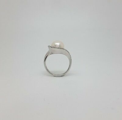 Miran 212216 Sterling Silver Freshwater Pearl CZ Ring Size O RRP $220
