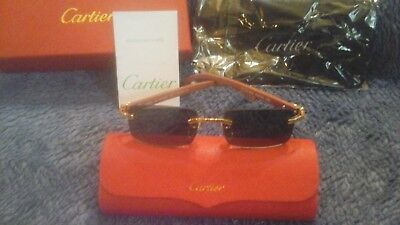 Cartier Frame Less, Wood  Leg with wipe rag and case Buffalo Horn New