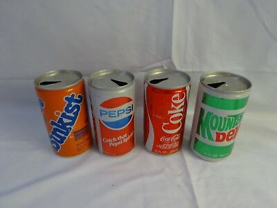 Vtg Various 12 OZ Can Lot of 4 SODA POP Pull Tab Collectible COKE Sunkist  JA