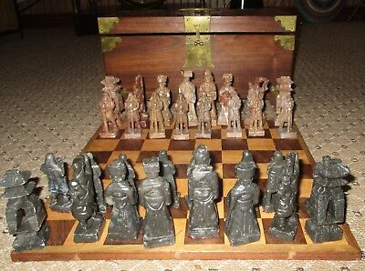 Chinese Shoushan Gem Soap Stone Carved Chess Set Emperor Seal Stamp Rosewood Box