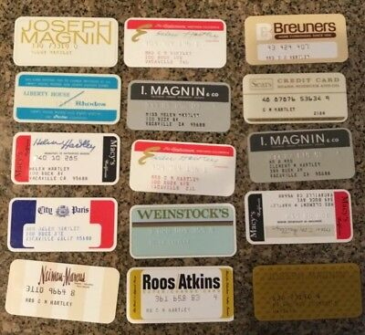 Collection Of 15 Vintage Department Store Credit Cards