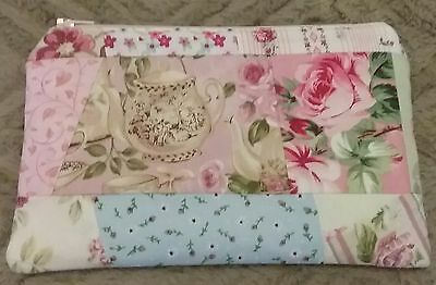 Handmade Crazy Patch Rose Zippered Purse Pouch