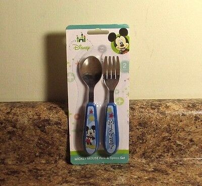Disney Baby Mickey Mouse Toddler Fork and Spoon Flatware Set  NEW