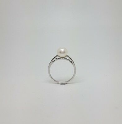 Miran 212226 Sterling Silver Freshwater Pearl CZ Ring Size M1/2  RRP $139
