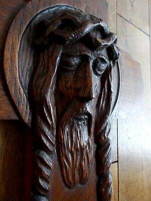 Large Antique Oak Cross With Carved Head Of Jesus Christ~French~Gothic~Church