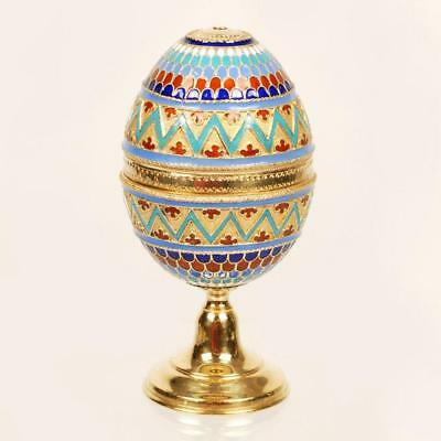 Antique Russian silver cloisonne egg stand
