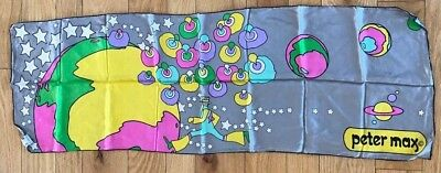 70s Vtg Peter Max Leaping Through The Stars Scarf Handrolled Silk Oblong 14 x 41