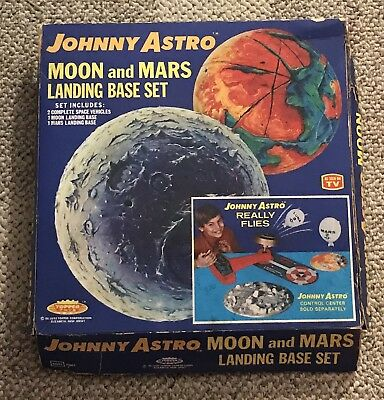 Topper  Johnny Astro  Moon And Mars Landing Set  With Box  C. 1960's