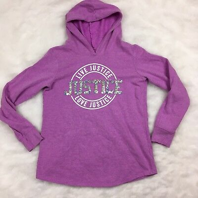 JUSTICE Girls Purple Sequin Pullover Hoodie Sweater Size 16 Casual Long Sleeve
