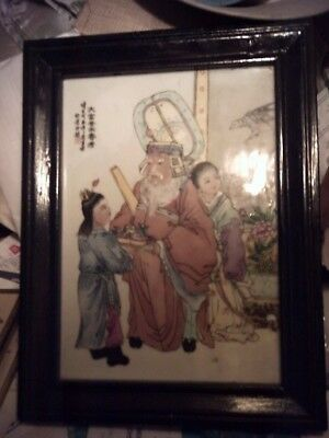 Chinese White Hand Painted Porcelain Plaque In Wood Frame