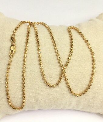 18k Solid Yellow Gold Diamond Cut Beaded Necklace Chain 5.65 Grams,16 Inches.