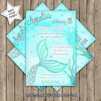 MERMAID TAIL SPLISH SPLASH PERSONALISED BIRTHDAY PARTY INVITATION X 1