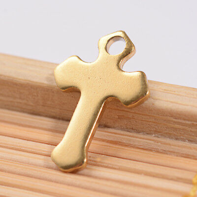 20pcs Gold Plated 304 Stainless Steel Cross Charms Smooth Dangle Pendant 15x10mm