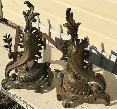 Antique Solid Brass Andirons