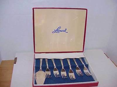 Leonard Sheffield England Silverplate Dessert Set - 6 Forks & Server Free Ship