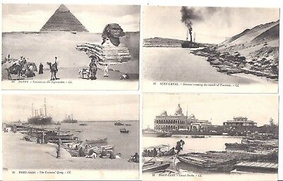 Vintage Set of 11 early 1900s Port Said, Egypt panoramic view postcards unposted