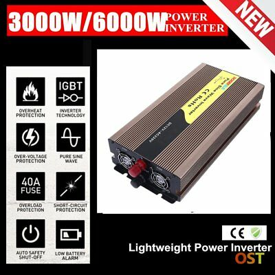 3000W (6000W Max) 12V-240V Pure Sine Wave Car Power Inverter W/ USB Charger LO