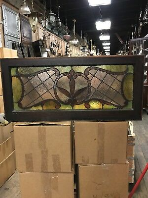 Antique Stained  Glass Window. Transom Size Antique Stained Glass