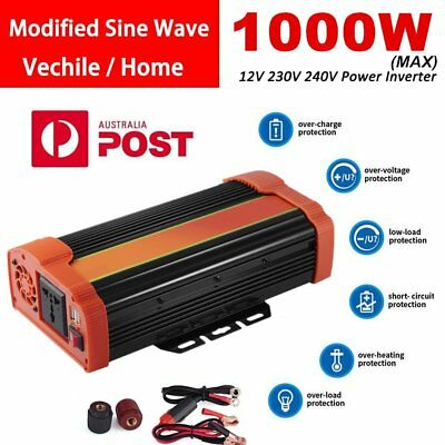 1000W MAX DC 12V to AC 240V Car Auto Power Inverter Charger Converter USB LO