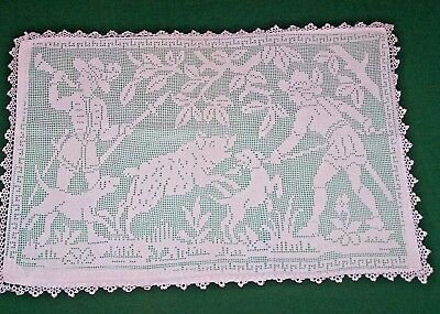 Spectacular Vintage Filet Lace Crocheted Pillow Sham, Hunt Scene: Boar, Dog 1920