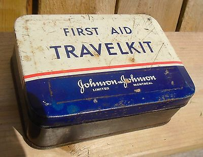 VINTAGE 1940-50's JOHNSON & JOHNSON FIRST AID TRAVELKIT TIN CAN - MONTREAL, QUE.