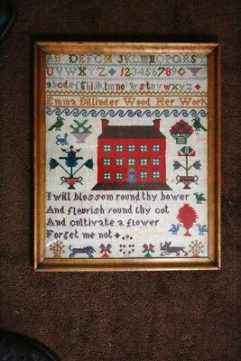 Antique English SAMPLER late 1800s, done by Emma Dilliinder Wood in Wales