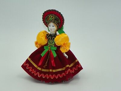 Collectible Handcrafted Russian Porcelain Doll Handmade Decorative Costume