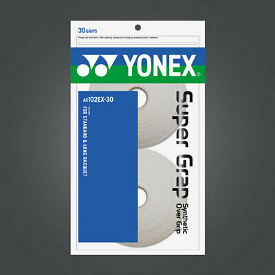 New Yonex AC102EX-30 Super Grap (30 Grips)  Synthetic Over Grip White