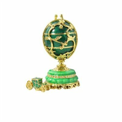 Feberge Style Russian Mini Pine Green Enameled crystalize Egg Wagon Trinket Box