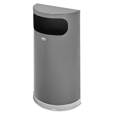 Half Round Flat Top Waste Receptacle, 9 gal, Metallic w/Chrome Trim, Steel