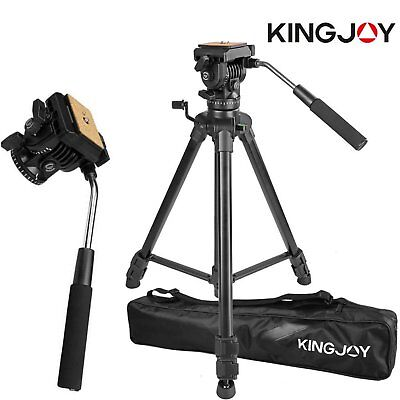 Professional Heavy Duty Video Camera Tripod with Fluid Pan Head Kit 65' Inch LN