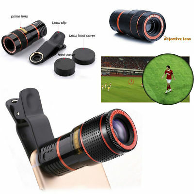 Clip-on 8-12x Zoom Optical Telescope Camera Lens HD Tripod Fr iPhone Smartphones